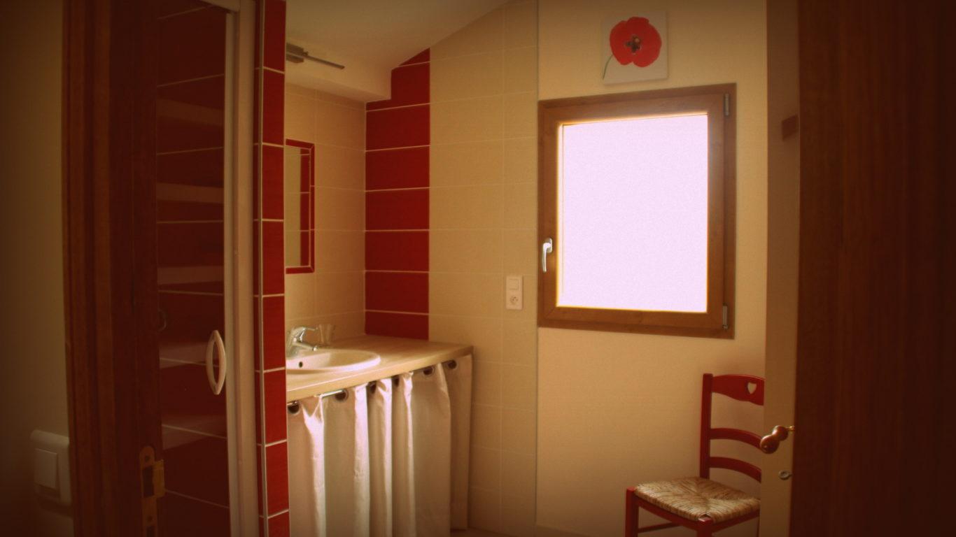 Salle d'eau commune du gîte le Chacelou à Châteaudouble